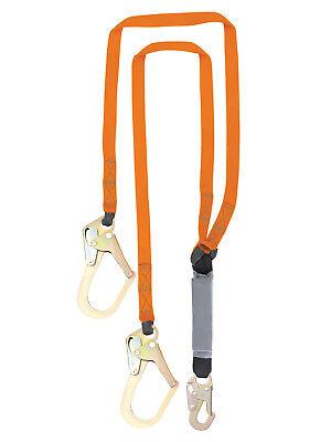 NEW-6' Double Leg External Shock Absorbing Lanyard 2 Rebar & 1 Steel Snap Hook (2 Rebar Snap Hooks)