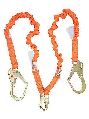 NEW-Double Leg Stretch Shock Absorber Lanyard 2 Rebar Hook & 1 Steel Snap Hook (2 Rebar Snap Hooks)
