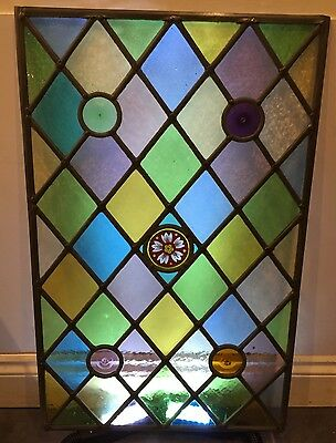 Stained Glass Leaded Window With Cathedral Glass With Hand Painted Center