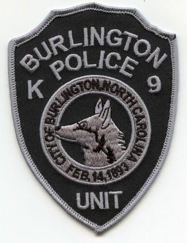BURLINGTON NORTH CAROLINA NC K-9 POLICE PATCH