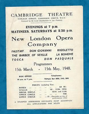 1948 NEW LONDON OPERA COMPANY AT THE CAMBRIDGE THEATRE FLYER MARCH TO MAY