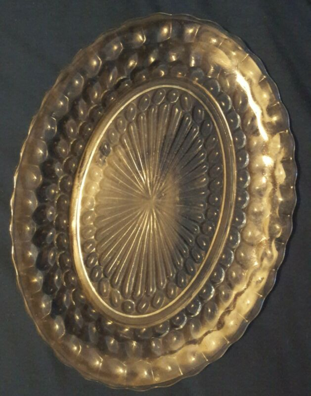 """Immaculate Vintage Sapphire Blue Anchor Hocking """"BUBBLE"""" Oval Platter 12"""" Used"""