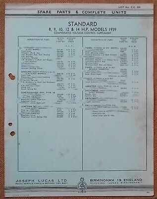 Standard 8,9,10,12 & 14hp models 1939 voltage control sup Lucas Parts List 406