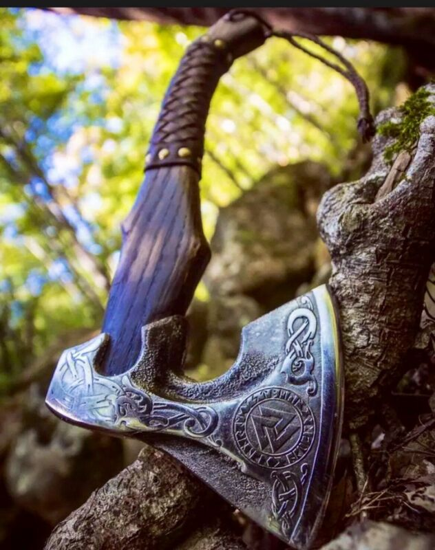 Vikings Norseman Custom Handmade Carbon Steel Viking Bearded Axe,  Camping Axe