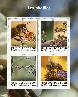 Djibouti Bees Stamps 2018 MNH Honey Bee Insects 4v M/S