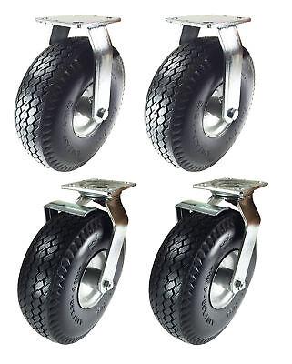 8 X 2-12 Pneumatic Wheel Caster Set Foam-flat Free Rigid Swivel And Brake
