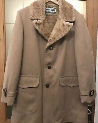 "cddc7d793d517 イギリス Maine Guide Vintage Mens Faux Fur Lined Tan Jacket/coat Chest 40""  Length 35"