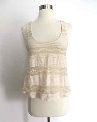 Urban Outfitters size SMALL creme ivory gold lace print sheer tank top blouse - Lace Gold Creme
