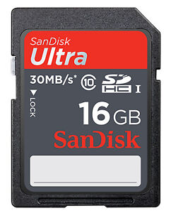 SanDisk 16 GB Ultra SDHC SDXC SD Class 10 30MB/S High Speed 200X Card UHS-I HD