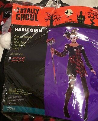 Totally Ghoul HARLEQUIN Jester Joker Teen Junior 7-9 Girl Halloween Costume NEW](Girl Joker Halloween Costume)