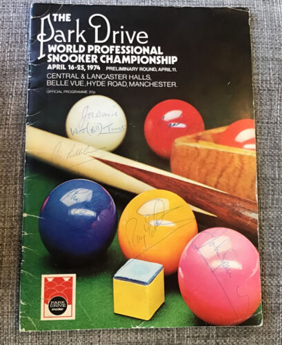 1974 World Snooker Final Programme - Signed / Autographed By 7 Inc Joe Davis