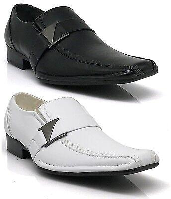 Men Leather Dress Shoes Formal Wedding Prom Slip On Buckle White Black Tony
