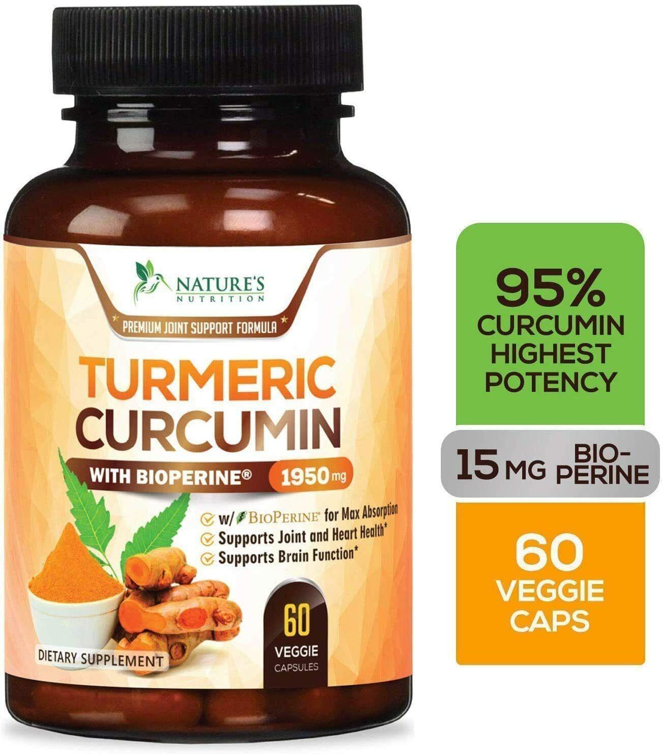 Tumeric Curcumin Ginger Max Potency Bioperine Black Pepper D