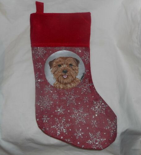 Norfolk Terrier Dog Hand Painted Christmas Stocking Holiday Decoration