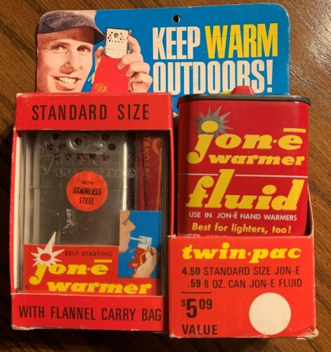 Vintage Jon-E Handwarmer in original package, unopened, with fluid can