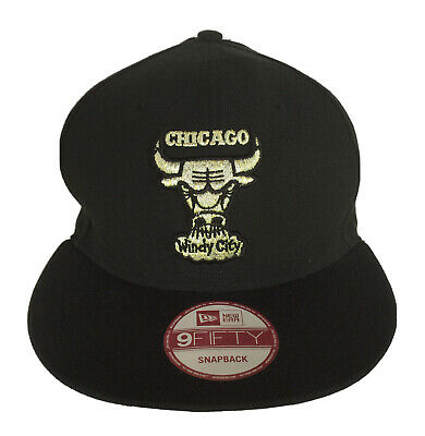 New Era Chicago Bulls Windy City 59Fifty Black One Size Snapback Cap Hat NBA