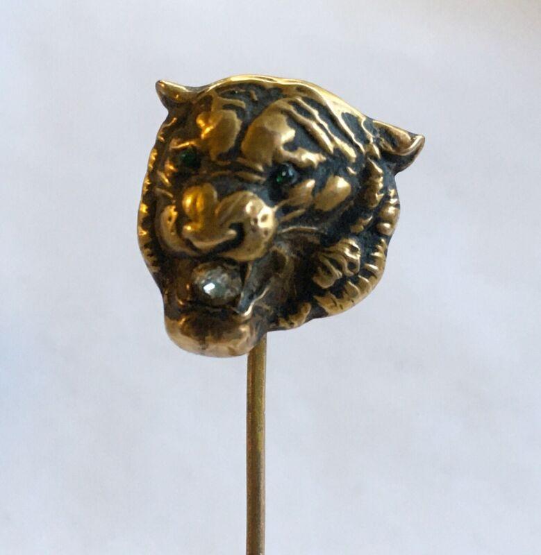 Antique Art Nouveau 10k Lion Head Stick Pin With Diamond & Green Eyes
