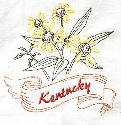 STATE FLOWER-KENTUCKY-GOLDENROD MACHINE EMBROIDERED FLOUR SACK DISH TOWEL