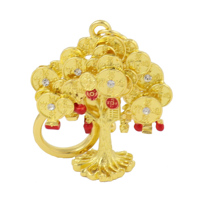 Wealth Tree to Bring 3 Kind of Wealth Keychain Amulet