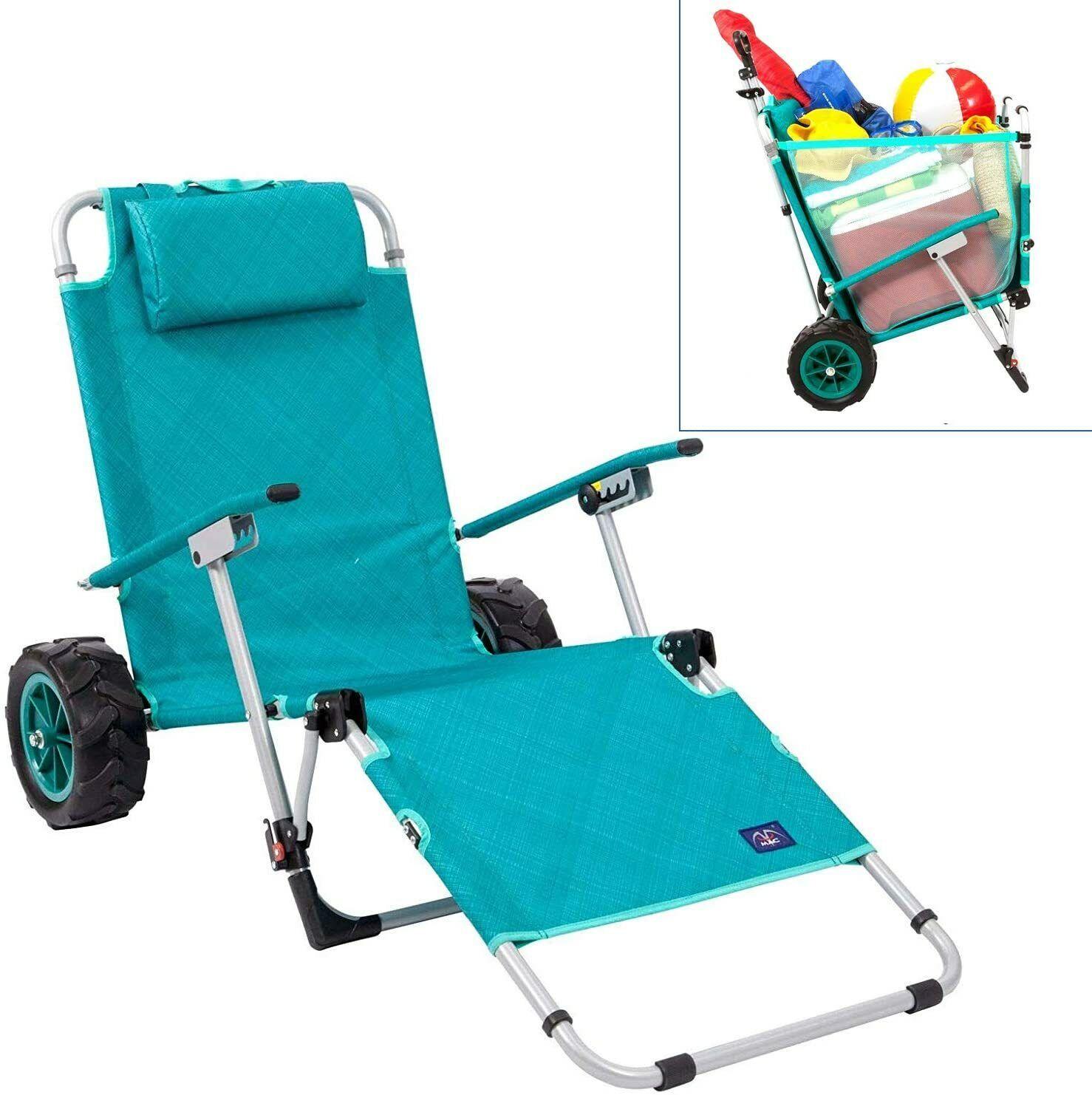 Mac Sports Beach Day Convertible Lounger Chair with Integrat