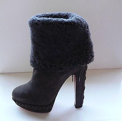 Christian Louboutin Step N Roll 140 Suede Shearling Corset Lace Boots $1845