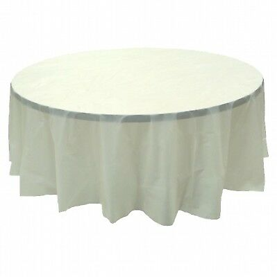 Ivory Round Plastic Table Covers (6 PACK, 84