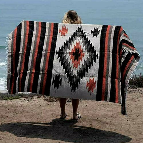 Mexican Blanket Vintage Style Tan Brown Diamond X Large Native Serape Saltillo