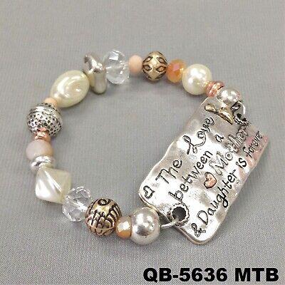Hammered Bar Mother Love Message Silver Finish Pearl Beaded Stretch Bracelet - Message Bracelets