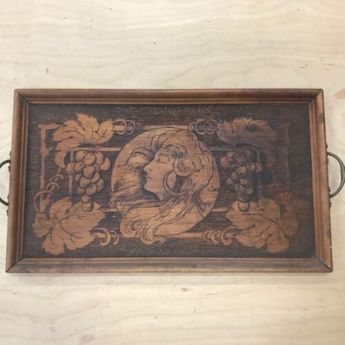 Antique Pyrography Flemish Wood Art Nouveau Lady Vintage Serving tray