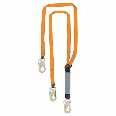New - 6 Double Leg External Shock Absorbing Lanyard With 3 Steel Snap Hooks