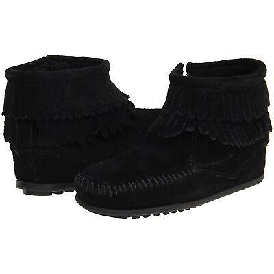 Double Fringe Side Zip (Minnetonka Kids/Toddler Double Fringe Side Zip Suede Ankle Boot Black)