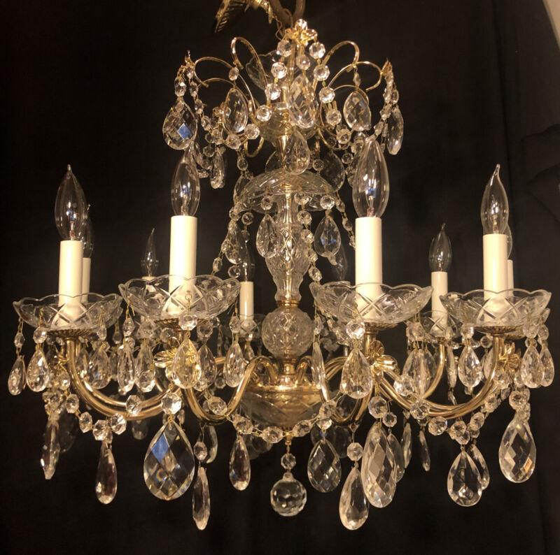 """Vintage Schonbek Swarovski Chandelier Cut Crystal Gold Tone 21"""" X 24"""" Chains"""