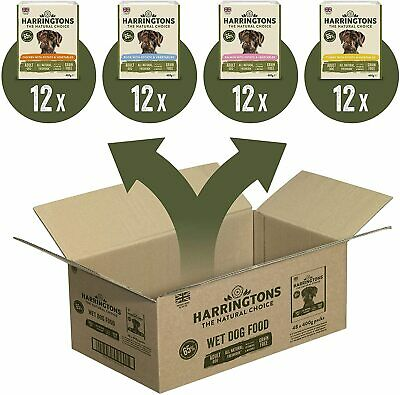 Harringtons Wet Dog Food Mixed Bulk Grain Free Pack of 48 Pouches Trays x 400 g