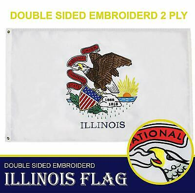 Illinois State Flag 210D Embroidered Polyester 3x5 Ft - Double Sided 3ply Illinois State Polyester Flag