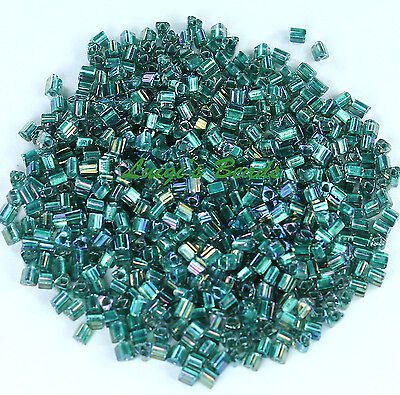 11/0 TOHO Triangle Glass Seed Beads #270- Crystal/Praire Green Lined 10 grams