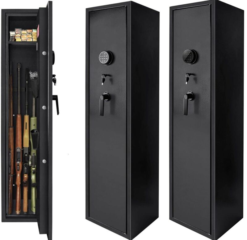 5 Gun Rifle Shotgun Storage Lockable Steel Cabinet Metal Security Safe 54 inch
