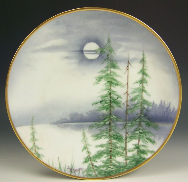 PICKARD LIMOGES HAND PAINTED VELLUM PLATE ARTIST SIGNED F. JAMES