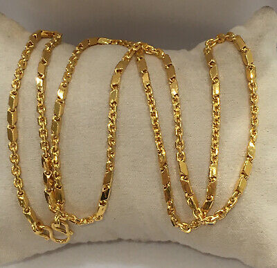 24k Solid Yellow Gold Box N Link Chain Necklace. 24 Inches. 30 Grams