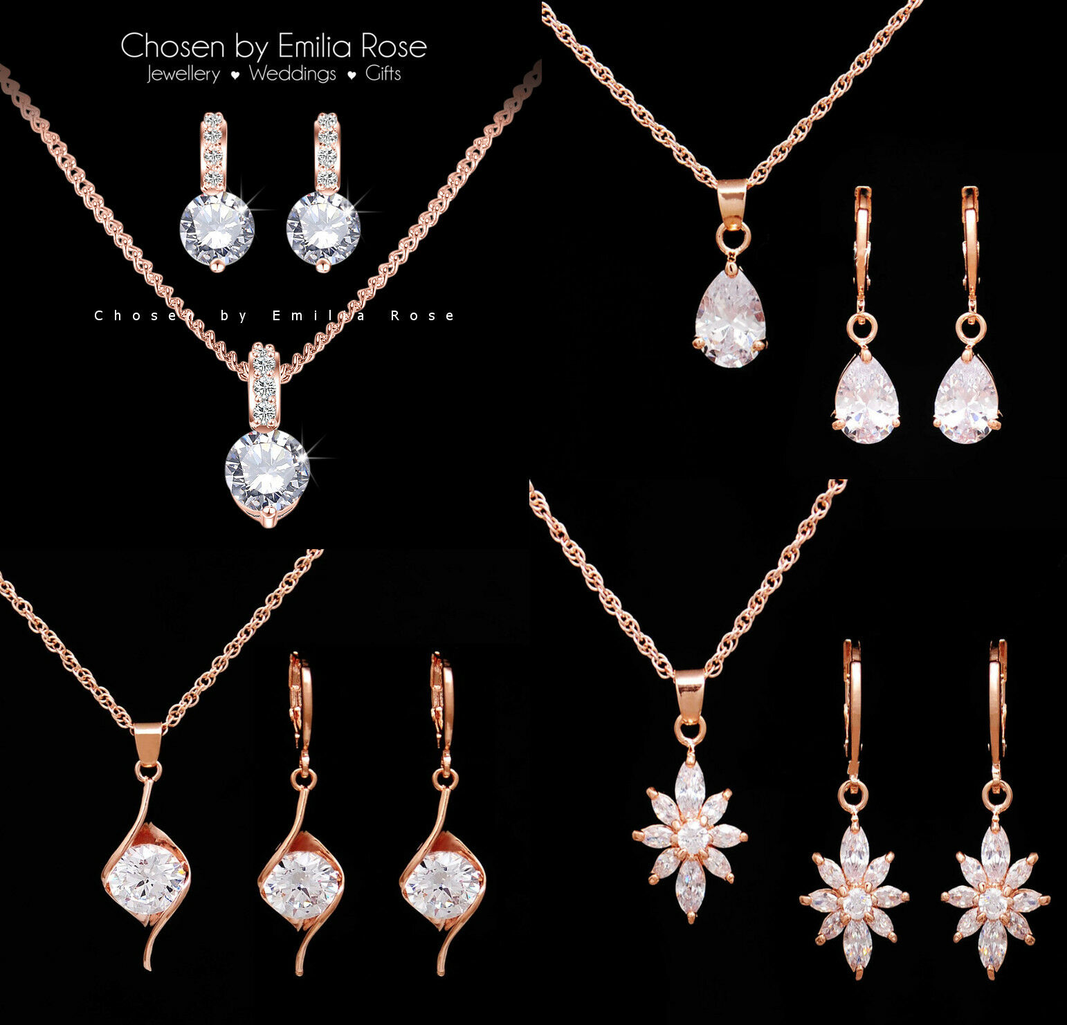 Jewellery - 18k Rose Gold Bridal Bridesmaid Necklace Earrings Jewellery Set Wedding Jewelry