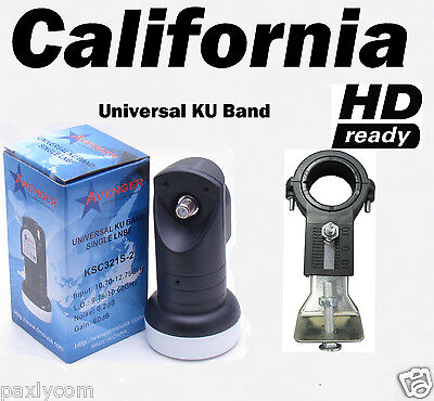 Universal Single Ku Band LNBF 0.2dB FTA Satellite Dish Liner+LNB Bracket Holder