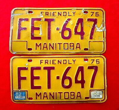 1976 Manitoba License Plate FET-647 BUY ONE OR TWO lju