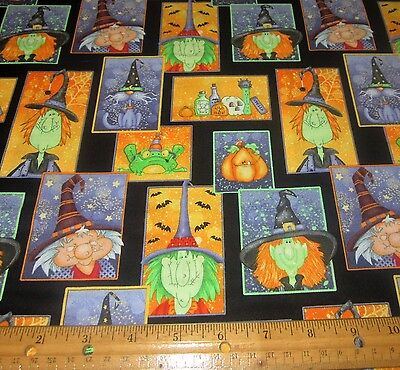 1 yard of COMICAL POTIONS WITCHES FROGS CATS on BLACK 100% Cotton Fabric