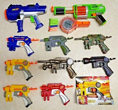 Lot of 11 Nerf Guns Nite Finder ~ Some Modified & N-Strike 25 Round Ammo Drum