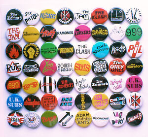 70's Punk New Wave Band Collection - 56 Badges inc The Damned, The Clash etc