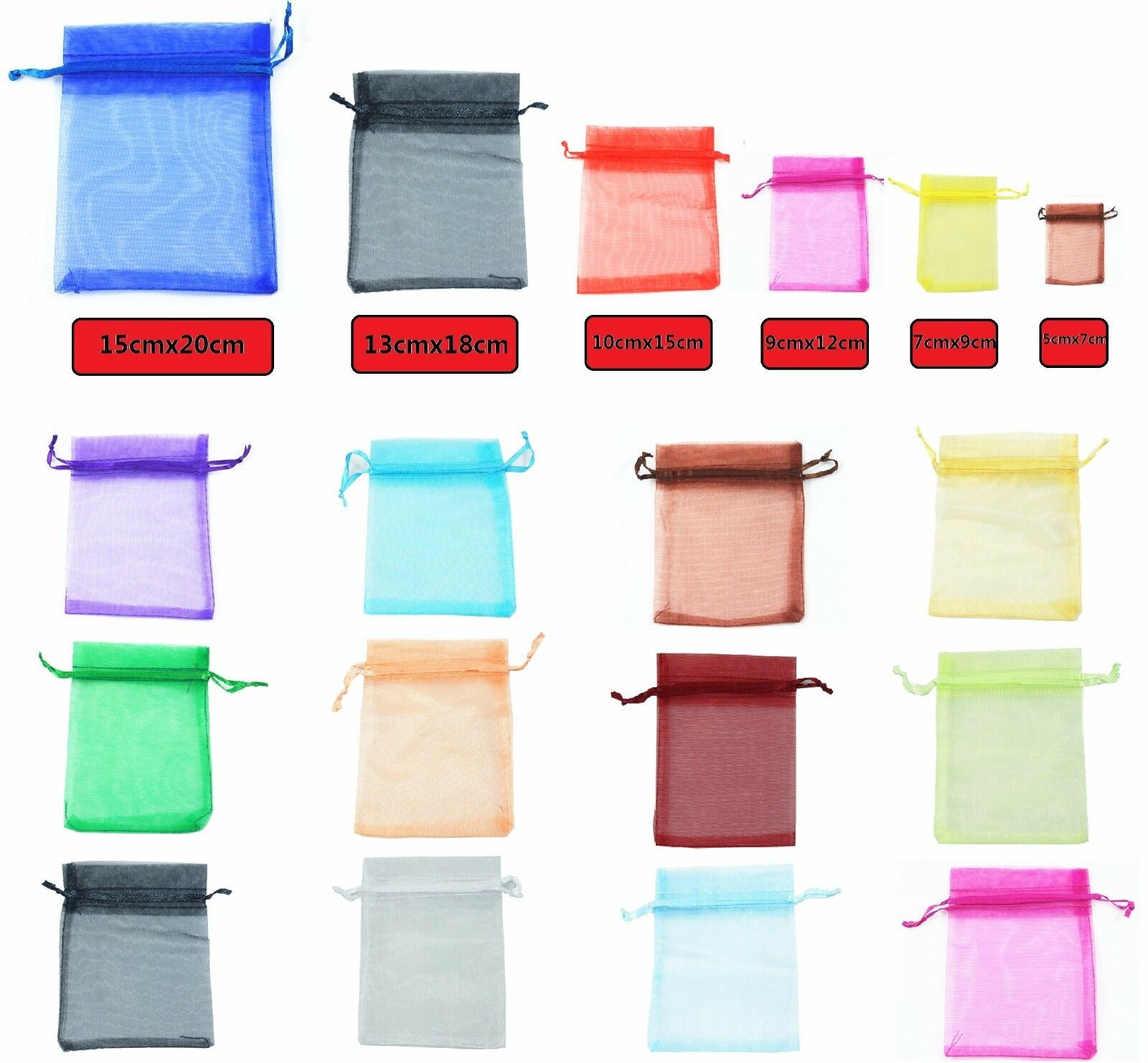 Jewellery - 50 LUXURY Organza Gift Bags Jewellery Pouches XMAS Wedding Party Candy Favour