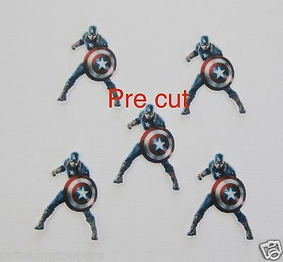 12 PRECUT CAPTAIN AMERICA SUPERHERO EDIBLE RICE WAFER CARD CUPCAKE - Captain America Cupcake Toppers