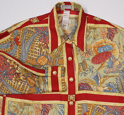 * GIANNI VERSACE * Versus Vintage 90's Chinese Silk Blouse Dress Shirt 44/Medium