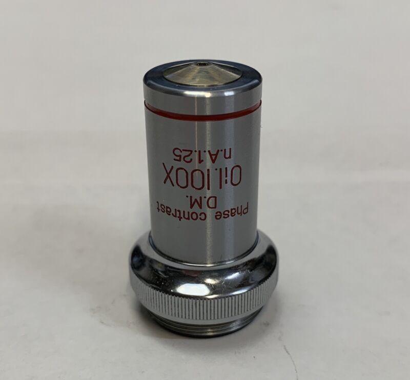 Unitron 100X/1.25 Oil DM Phase Contrast Microscope Objective Lens 73885