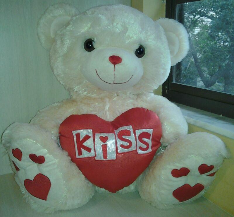 "Cream color Teddy Bear Dan Dee Plush 24""  Valentine"