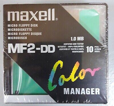 "Maxell Micro Floppy 3"" 1/2 MF2-DD Color + Boîte de rangement - NSB 10pc"
